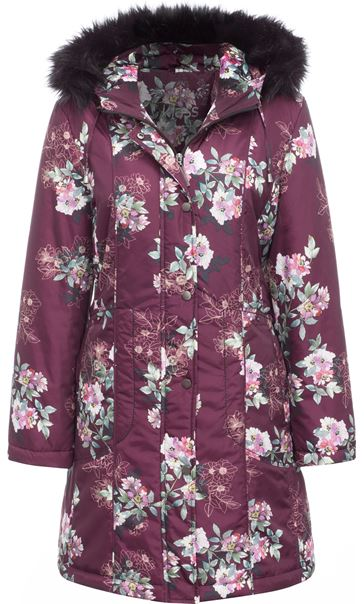 Floral Print Faux Fur Hooded Coat Bordeaux