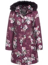 Floral Print Faux Fur Hooded Coat Bordeaux - Gallery Image 1
