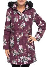 Floral Print Faux Fur Hooded Coat Bordeaux - Gallery Image 2