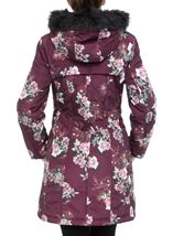 Floral Print Faux Fur Hooded Coat Bordeaux - Gallery Image 3