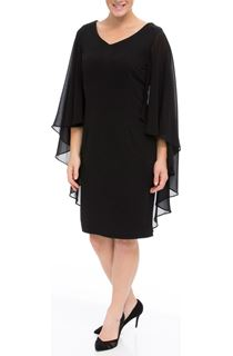 Chiffon Cape Midi Dress