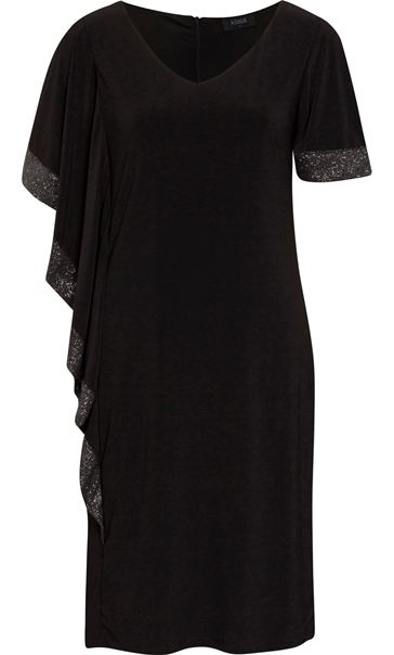 Glitter Trim Midi Dress Black