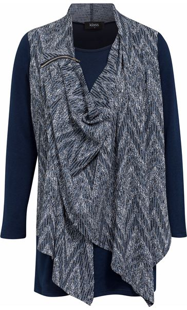 Draped Knit Long Sleeve Top Blues