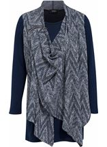 Draped Knit Long Sleeve Top Blues - Gallery Image 1