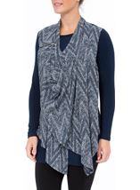 Draped Knit Long Sleeve Top Blues - Gallery Image 2