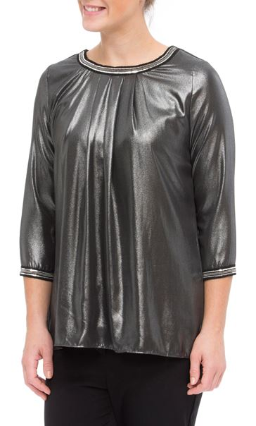Embellished Chiffon Shimmer Top Black/Silver - Gallery Image 2