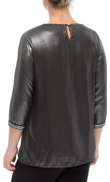 Embellished Chiffon Shimmer Top Black/Silver - Gallery Image 3