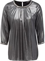 Embellished Chiffon Shimmer Top Black/Silver - Gallery Image 1