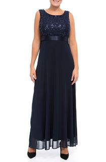 Sequin Lace Bodice Sleeveless Maxi Dress