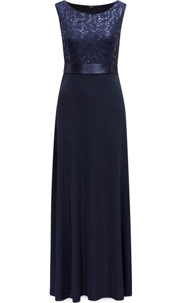 Sequin Lace Bodice Sleeveless Maxi Dress Midnight