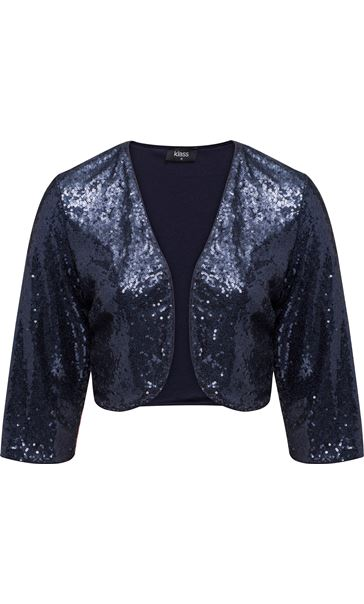 Three Quarter Sleeve Sequin Open Cover Up Midnight