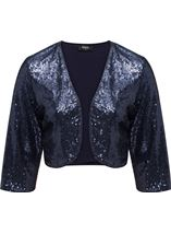 Three Quarter Sleeve Sequin Open Cover Up Midnight - Gallery Image 1