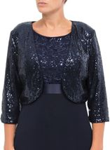 Three Quarter Sleeve Sequin Open Cover Up Midnight - Gallery Image 2