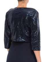 Three Quarter Sleeve Sequin Open Cover Up Midnight - Gallery Image 3