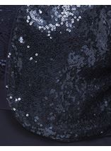 Three Quarter Sleeve Sequin Open Cover Up Midnight - Gallery Image 4