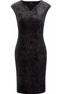 Glitter Velour Fitted Midi Dress