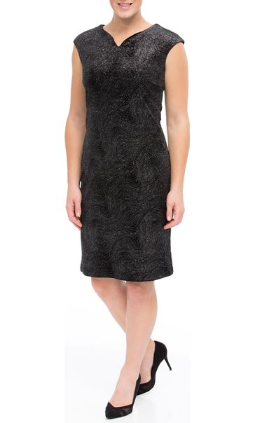 Glitter Velour Fitted Midi Dress Black/Silver - Gallery Image 2