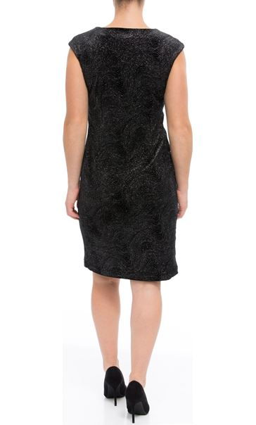 Glitter Velour Fitted Midi Dress Black/Silver - Gallery Image 3
