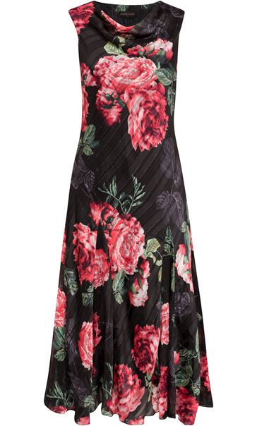 Anna Rose Bias Cut Floral Midi Dress Red