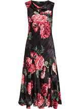 Anna Rose Bias Cut Floral Midi Dress Red - Gallery Image 1