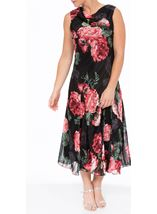 Anna Rose Bias Cut Floral Midi Dress Red - Gallery Image 2