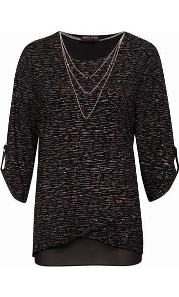 Anna Rose Loose Fit Sparkle Top With Necklace Black/Silver