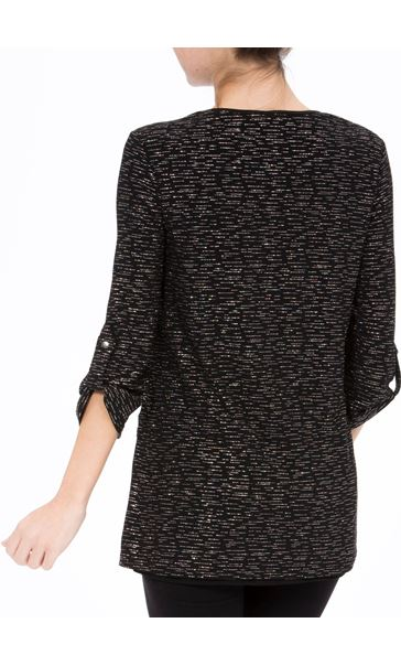 Anna Rose Loose Fit Sparkle Top With Necklace Black/Silver - Gallery Image 3