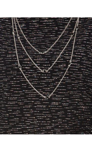 Anna Rose Loose Fit Sparkle Top With Necklace Black/Silver - Gallery Image 4