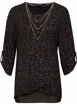 Anna Rose Loose Fit Sparkle Top With Necklace Black/Silver - Gallery Image 1