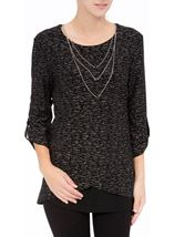 Anna Rose Loose Fit Sparkle Top With Necklace Black/Silver - Gallery Image 2