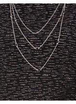 Anna Rose Loose Fit Sparkle Top With Necklace