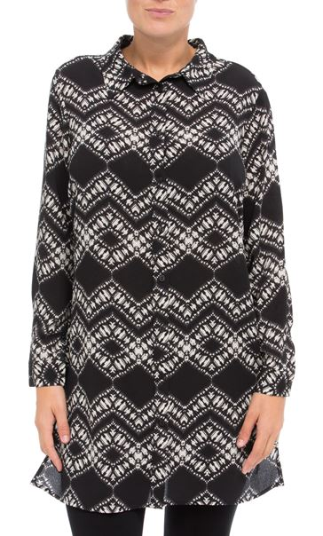 Longline Long Sleeve Printed Shirt Black/Cream