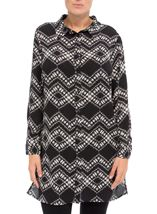 Longline Long Sleeve Printed Shirt Black/Cream - Gallery Image 1