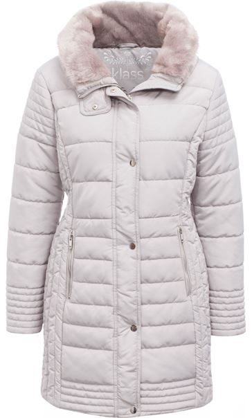 Faux Fur Trim Padded Coat Pale Grey