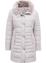 Faux Fur Trim Padded Coat Pale Grey - Gallery Image 1