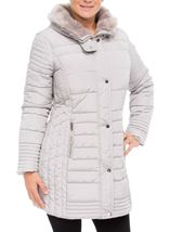 Faux Fur Trim Padded Coat Pale Grey - Gallery Image 2