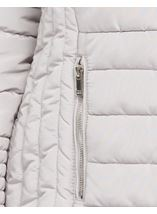 Faux Fur Trim Padded Coat Pale Grey - Gallery Image 4