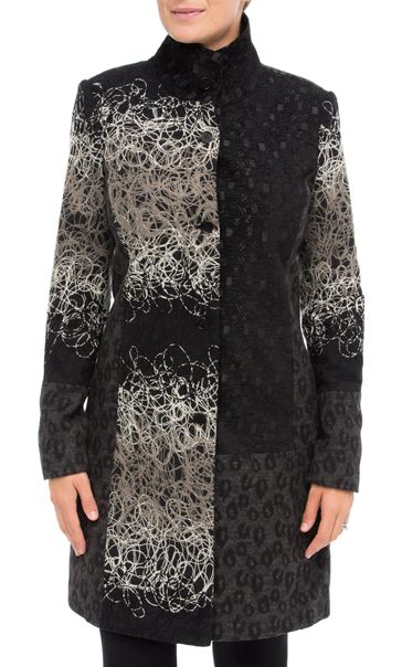 Textured Patchwork Button Coat Black/Grey/Taupe