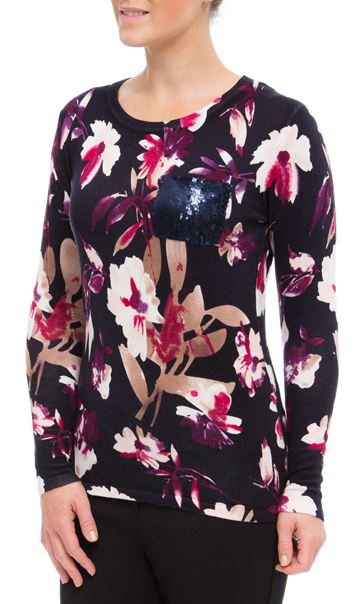 Anna Rose Floral Knit Top Navy/Magenta