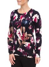Anna Rose Floral Knit Top Navy/Magenta - Gallery Image 1