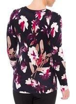 Anna Rose Floral Knit Top Navy/Magenta - Gallery Image 2