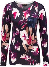 Anna Rose Floral Knit Top Navy/Magenta - Gallery Image 3