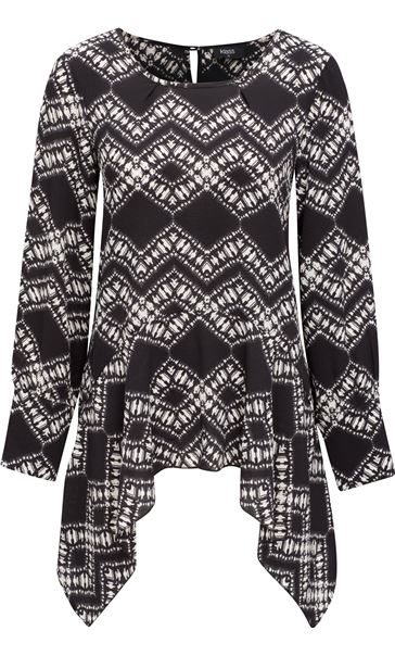 Long Sleeve Dip Hem Printed Top Black/Cream