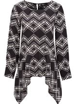 Long Sleeve Dip Hem Printed Top Black/Cream - Gallery Image 1