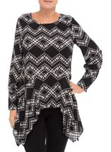 Long Sleeve Dip Hem Printed Top Black/Cream - Gallery Image 2