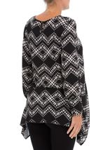Long Sleeve Dip Hem Printed Top Black/Cream - Gallery Image 3