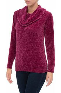 Cowl Neck Long Sleeve Chenille Top - Pink