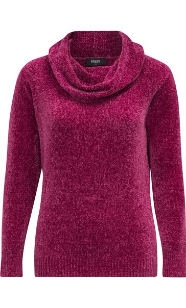 Cowl Neck Long Sleeve Chenille Top Pink