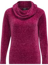 Cowl Neck Long Sleeve Chenille Top Pink - Gallery Image 1