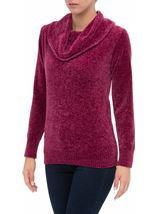 Cowl Neck Long Sleeve Chenille Top Pink - Gallery Image 2
